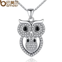 american vintage collection - BAMOER Vintage Owl Pendant Necklace with AAA Austrian Zircon K White Gold Plated Summer Collection Animal Jewelry YIN047