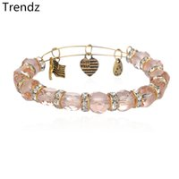 alex pink - Alex Ani Antique Gold and Silver Expandable Steel Wire Bangles Handmade DIY Pink Chamilia Bead Crystal Charms Bracelets