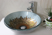 Wholesale Contemporary Artfull Vessel sink Tempered Glass Vessel Sink With Faucet Set N