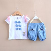 100 % cotton t shirts - 2015 Summer two piece sets korean sweet fashion short sleeve T shirt shorts girls clothing sets cotton lace children outfits T112