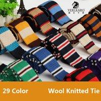 Wholesale Fashion Wool knitting Men NeckTie CM Width Narrow Style Colorful Flat Head Neckwear Business Meeting Knitted Tie Neck Neckcloth