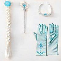 accessories hair accessories - 4Pcs set Frozen Princess Elsa Cosplay Crown Tiara Hair Accessories Crown Wig Magic Wand Gloves girls hair accessories