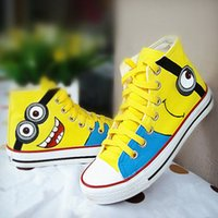 shoes size 5 women - 5 styles Despicable Me Minions Unisex Canvas shoes Casual Sneakers for Women men high top Hand painted Shoes size pairs