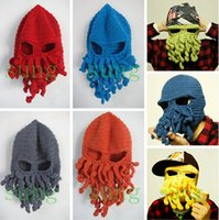 Beanie/Skull Cap Printed Sailor Novelty Handmade Knitting Wool Funny Beard Octopus Hats Caps Crochet Knight Beanies Ski Face Mask Knit Hat For Men Unisex Gift