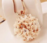Cheap Special Offer Ball Flower Pendant Necklace Sweater Chain With Diamond 24PCS Lot Free Shipping 0907N3