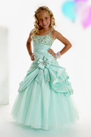 Wholesale Bow Little Girls Pageant Party Prom Performance Dresses In Stock Size Custom Made Popular Crystals Beauty Contest Dresses