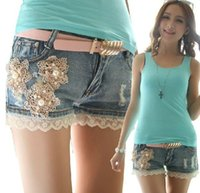 Cheap New Korean Style Women Summer Slim Lacework Pearls Casual Washed Denim Shorts Ripped Jeans Free Shipping LJ884