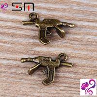 antique military guns - 21 mm Diy alloy jewelry accessories zakka antique bronze Machine gun charms for bracelet vintage man military weapon pendants