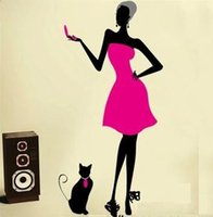 abstract clothing stores - Women Cat Sound Personality Wall Stickers Home Decoration Restaurant Pub Cafe Clothing Store Fashion Wall Sticker