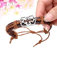 black jesus - Vintage Cow Leather Bracelets Bangles Metal Cross Jesus Charm Bracelet Adjustable Wax Cord Brown Burgundy Black coffee J0189
