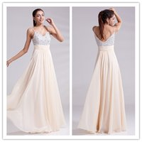 beige prom dresses - Formal Custom Made Long Beige A line Sweetheart Beaded Chiffon Women Prom Evening Dresses With Straps ed7930