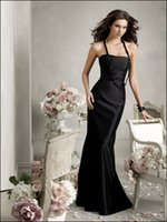 Wholesale 2015 Elegant Black Floor Length Strapless Sleeveless Mermaid Bridesmaid Dress at a Low Price Q24