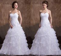 affordable wedding gown - Affordable Trumpet Long Strapless Pleated Strapless Reception Wedding Gowns White Tiered Organza Wedding Dresses Vestidos De Novia wd95