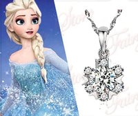 Wholesale 25pcs Frozen Elsa silver Rhinestone Snowflake Pendant Necklace Children Kids Jewelry A105