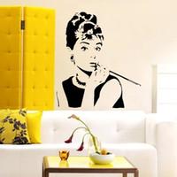 audrey hepburn quote wall decals - 2015 Sexy Audrey Hepburn Portrait Mural Sticker Wall Decal Quote Art Room Decor