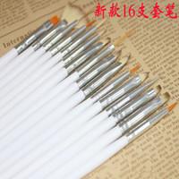 Wholesale 16pcs set Nail Art Brush Set Painting Dotting Design White Pen DHL Free