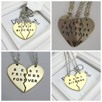 Wholesale Europe Style Fashion broken heart parts and parts pendant necklace best bitches Best Friend Forever necklace