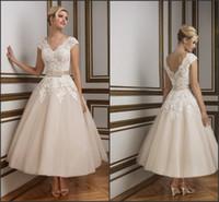 tea length wedding dress - 2016 Justin Champagne Tea Length Wedding Dresses Elegant V Neck s Vintage Lace Backless Short Ball Bridal Gowns SL10 with Belt