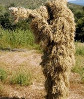 Wholesale The latest Dry Grass type Desert Ghillie Camouflage Suit Camo CS Stealth Sniper Hunting Paintball Suit CS Tactical Ghilly Suit