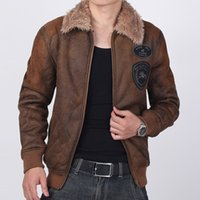 leather jackets for men - Fur Leather Jackets For Men Winter Steetstyle Plus Size Vintage Aviator Fur Collar Biker Guys Bomber Trenchcoat N