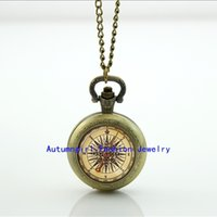 Wholesale Steampunk Compass Pocket Watch Memory Locket Necklace Vine Pocket Watch Necklace Silver WT