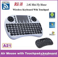 Wholesale Rii I8 Wireless Backlight Mini Keyboard Air Mouse Multi Media Remote With Touchpad Handheld For MXQ Pro T8 T95 M8S Plus S912 TV Box