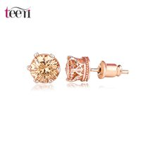 Wholesale Teemi Brand New Design Cheap Rose White Gold Plated CZ Crystal Small Stud Earrings Fashion Earring for Women Daily Wear Jewelry