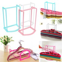 Wholesale 2015 Hot Selling Simple Design Clothes Organizer Hanger Holder Stacker Storage Rack Home Travel Candy Colors