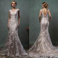 Wholesale Vintage Cheap Amelia Sposa Mermaid Wedding Dresses Champagne V Neck Plus Size Bridal Gowns Lace Sexy Backless Long Dress Appliques