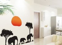 african animal decor - African Elephants Tree Sunset Wall Animal Sticker Decor Decals Removable PVC