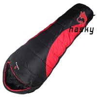 Wholesale Hasky Fall Mummy Thick Down Splicing Double Sleeping Bag for Outdoor Camping Hiking New Adult Hooded Portable Bags