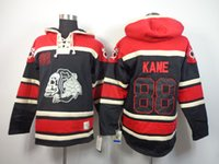 Wholesale Skull Hoodies Blackhawks Patrick Kane Black Red Sweater Hockey Sawyer Lace Up Pullover Hooded Sweatshirt Warm Winter Outerwear Hot Sale