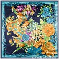 Cheap Women tulip floral satin 2015 newest large square silk scarves 90cm*90cm