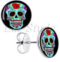 Wholesale Surgical Steel Blue Sugar Skull Stud Earrings Fake Plugs Diameter mm g ZCST