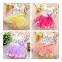 Cheap Hot Sale Korean Cut Girl Dresses Summer Casual Cotton Lace Vest O-Neck Sleeveless Sequins Floral Cute Girl Dresses Bow Baby Clothing CJJ05-4