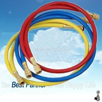 Wholesale Set of A C Freon Manifold R134a Charging Hose Set quot Yellow Blue and Red Refrigerant Pipe Hoses w Standard SAE Fittings order lt no t