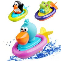 Wholesale 3pcs Cute sassy pull and go boat bath toy Infants baby penguin crocodile duck pull toys water play bath beach toy