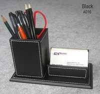 Wholesale wooden struction desk pen pencil box holder case with card stand stationery organizer storage box container black A016