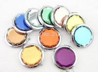 Wholesale Fashion Hot Cosmetic Compact Mirror Engraved Crystal Magnifying Multi Color Make Up Mirror Wedding Favor Gift