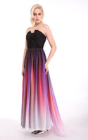 Wholesale 2016 In Stock Elie Saab Sash Belt Backless Prom Dresses Formal Gradient Color Fabric Chiffon Pleated Ombre Plus Size Evening Party Gowns