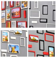 Wholesale 10PC Set TV Backdrop Photo Wall Sticker Wood Photo Wallpaper Brick Wall DIY Rectangle d Sticker Black White Papel Pintado Pared