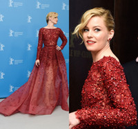 Cheap Elizabeth Bank Elie Saab Runway Evening Dresses with Long Sleeves 2015 Jewel Neck Ombre Tulle Celebrity Gowns with Pearls and Sequins