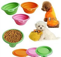 Wholesale High Quality Candy color Pet folding bowl Grade Fold Pet Bowl Folding Dog Bowl Pet Food Dish Pet Feeders