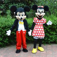 Traje de mascota de Mickey Mouse Clásico Mickey y traje de carnaval de Minnie, tienen en stock al por mayor Mickey Mouse y Minnie Mouse Mascot Cost