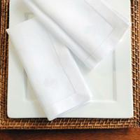 Wholesale set of Natural PolyCotton White Hemstitch Napkins x40cm X15 quot