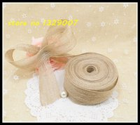 Wholesale 3 CM width Party decoration Natural Jute Burlap Ribbon jute roll for country wedding Floristry wreath wedding Craft Gift Wrap