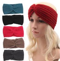Wholesale Fashion Womens Adult Lady Crochet Winter Autumn Knit Headbands Warm Hoop Wide Plait Headbands ear warmer Wool Stretch Hair Bands D703M