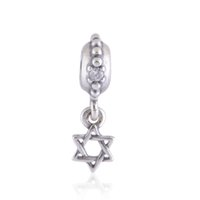 bulk european bead - 10pcs bulk for sale authentic sterling silver Star Of David Dangle charms beads fit European Bracelets for pandora style No50 LW291