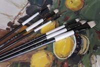 achat en gros de artiste peinture acrylique set-Gros-6pcs / set Qishuixuan Bristle Blend Peinture à l'huile Pinceau épais dur pinceaux pour la peinture acrylique Peintures pour le dessin Artiste Pinceau
