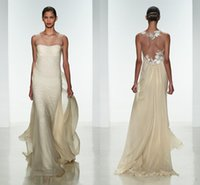 amsale evening gowns - 2015 New Design Amsale Strapless Beach Wedding Dresses Sweep Train Chiffon Backless Sheath Garden Bridal Evening Gowns Custom Sexy